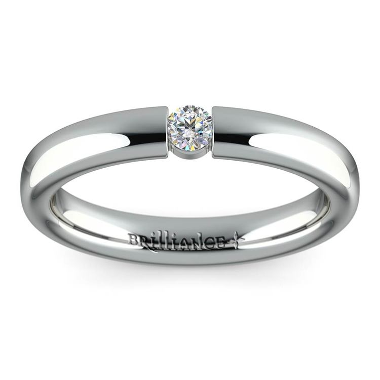 Domed Promise Ring with Round Diamond in White Gold (3.25mm) | 02