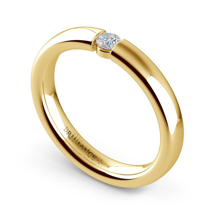 Domed Promise Ring with Round Diamond in Yellow Gold (3.25mm) | 01