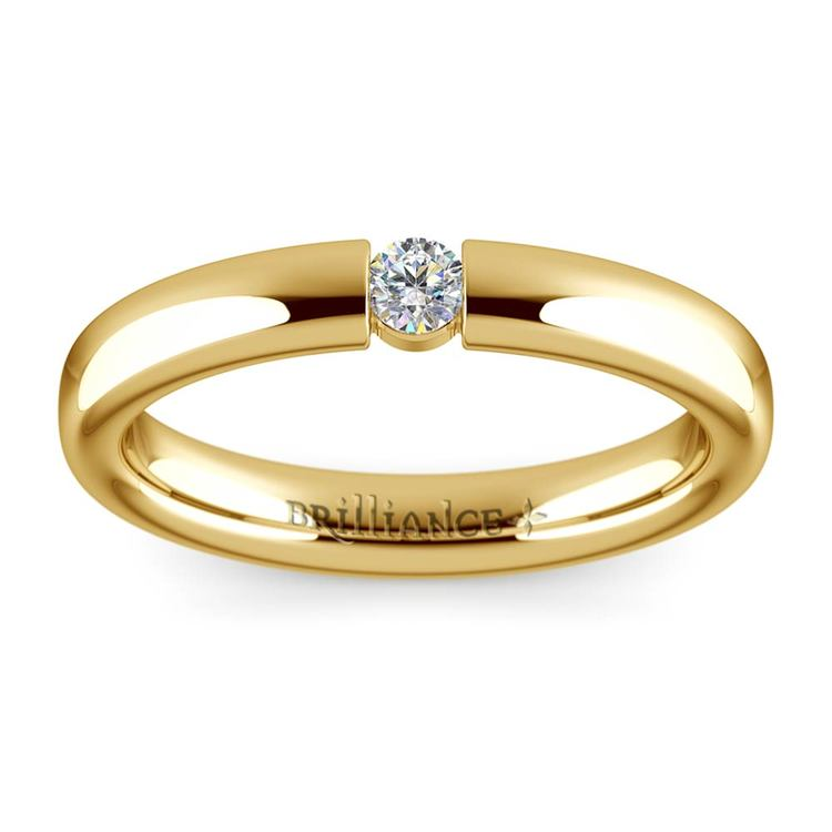 Domed Promise Ring with Round Diamond in Yellow Gold (3.25mm) | 02