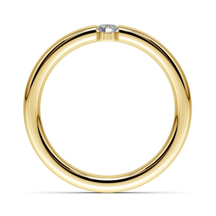 Domed Promise Ring with Round Diamond in Yellow Gold (3.25mm) | 03