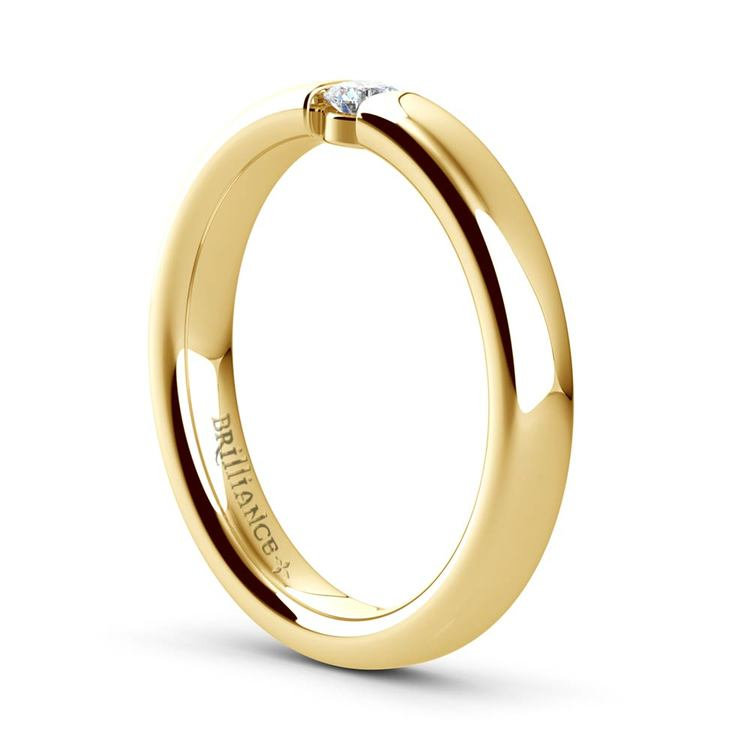 Domed Promise Ring with Round Diamond in Yellow Gold (3.25mm) | 04