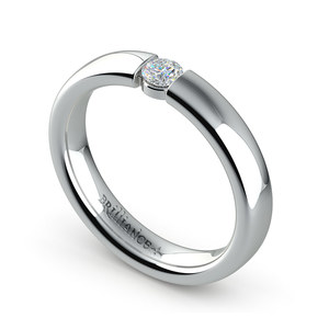 Domed Promise Ring with Round Diamond in Platinum (3.75mm)