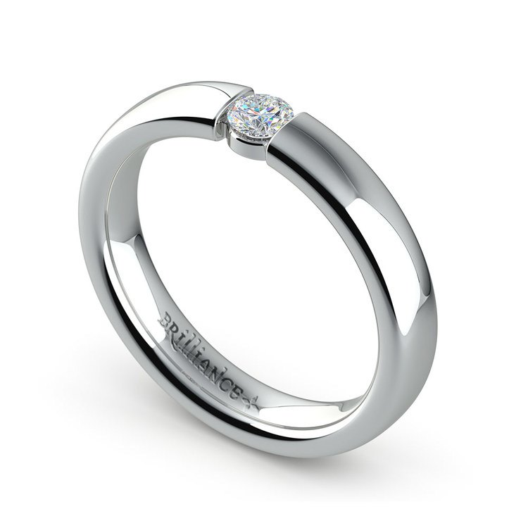 Domed Promise Ring with Round Diamond in White Gold (3.75mm) | 01