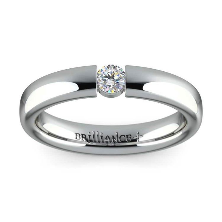 Domed Promise Ring with Round Diamond in White Gold (3.75mm) | 02