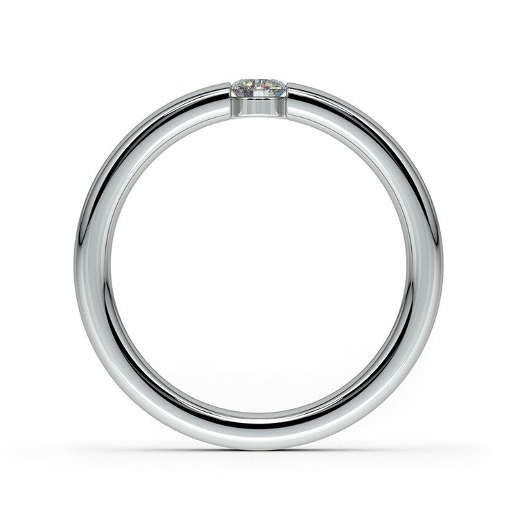 Domed Promise Ring with Round Diamond in White Gold (3.75mm) | 03
