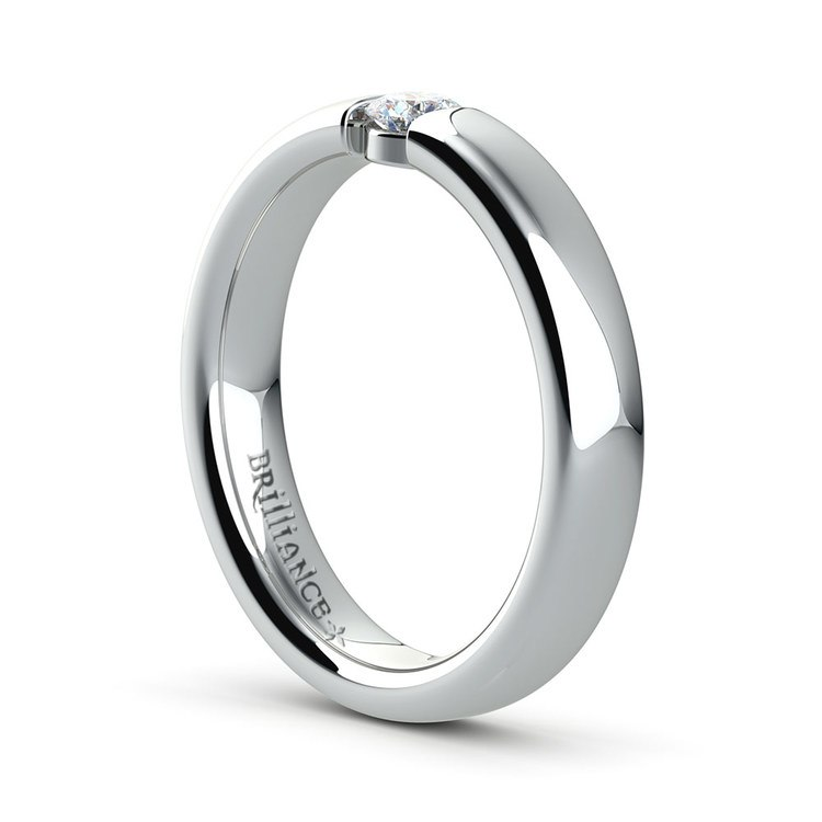 Domed Promise Ring with Round Diamond in White Gold (3.75mm) | 04