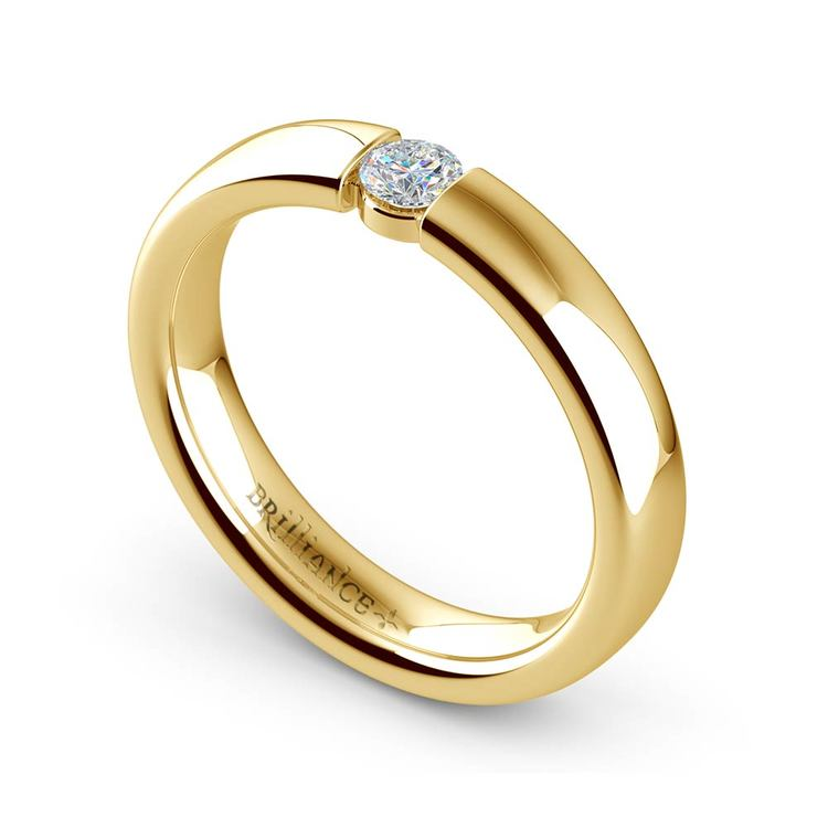 Domed Promise Ring with Round Diamond in Yellow Gold (3.75mm) | 01