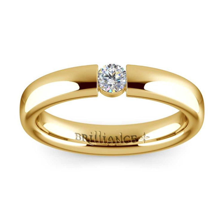 Domed Promise Ring with Round Diamond in Yellow Gold (3.75mm) | 02