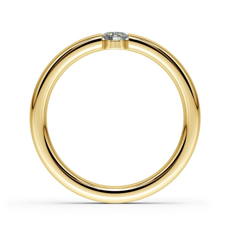 Domed Promise Ring with Round Diamond in Yellow Gold (3.75mm) | 03