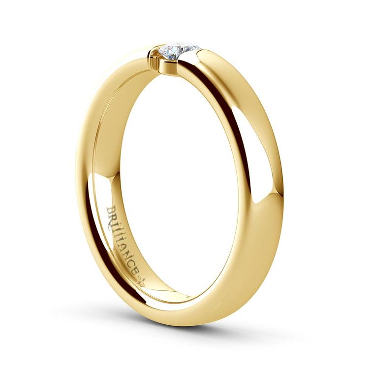 Domed Promise Ring with Round Diamond in Yellow Gold (3.75mm) | 04