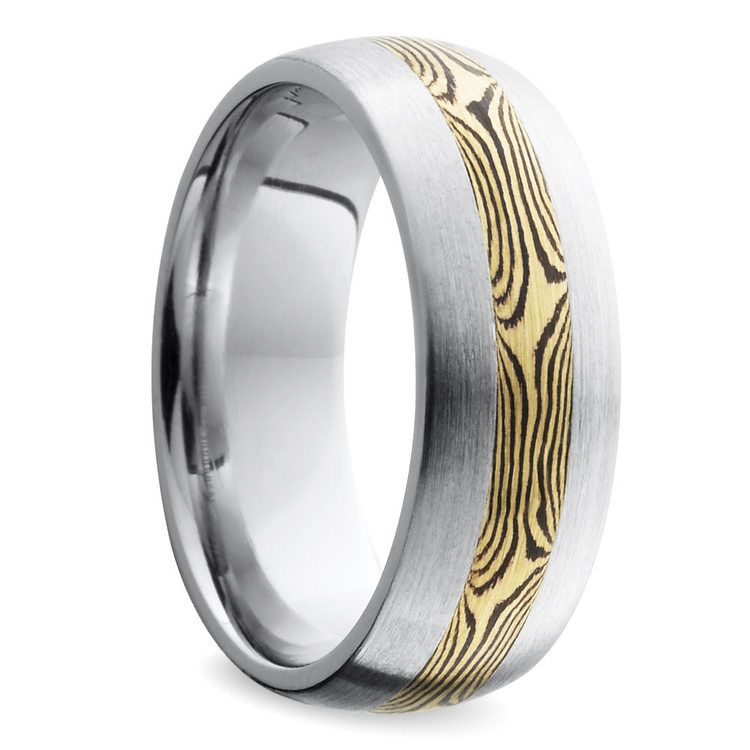 Domed Satin Men's Wedding Ring with Mokume Inlay in Cobalt | 02