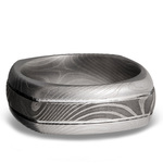 Domed Square Men's Wedding Ring with Grooves in Flattwist Damascus Steel | Thumbnail 03