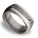 Domed Square Men's Wedding Ring with Grooves in Flattwist Damascus Steel | Thumbnail 01