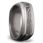 Domed Square Men's Wedding Ring with Grooves in Flattwist Damascus Steel | Thumbnail 02