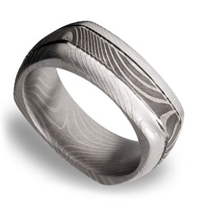 Domed Square Men's Wedding Ring with Grooves in Flattwist Damascus Steel