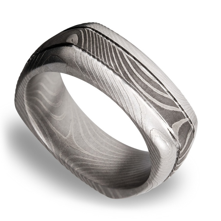 Domed Square Men's Wedding Ring with Grooves in Flattwist Damascus Steel | 01