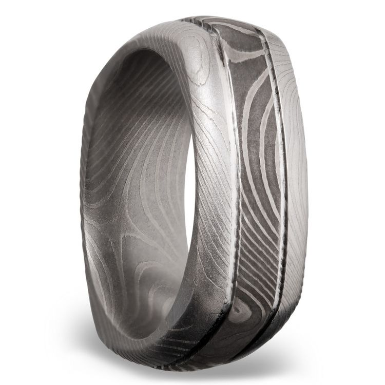 Domed Square Men's Wedding Ring with Grooves in Flattwist Damascus Steel | 02