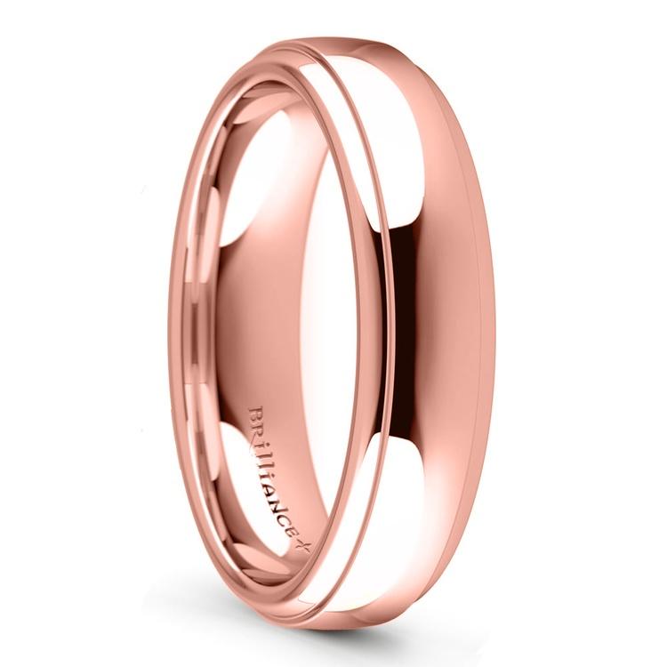 Domed Step Edge Men's Wedding Ring (5 mm) in Rose Gold   02