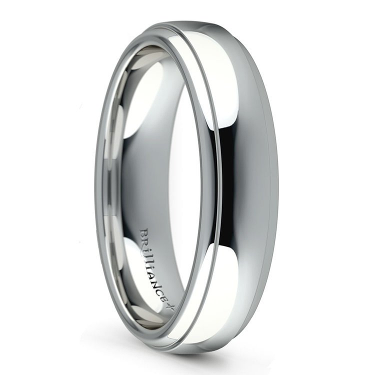 Domed Step Edge Men's Wedding Ring (5 mm) in White Gold | 02