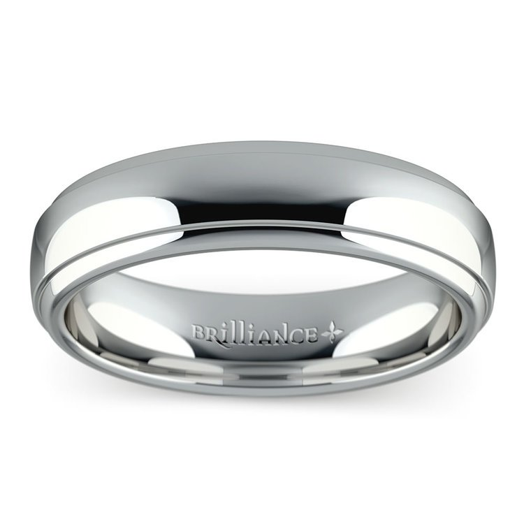 Domed Step Edge Men's Wedding Ring (5 mm) in White Gold | 03