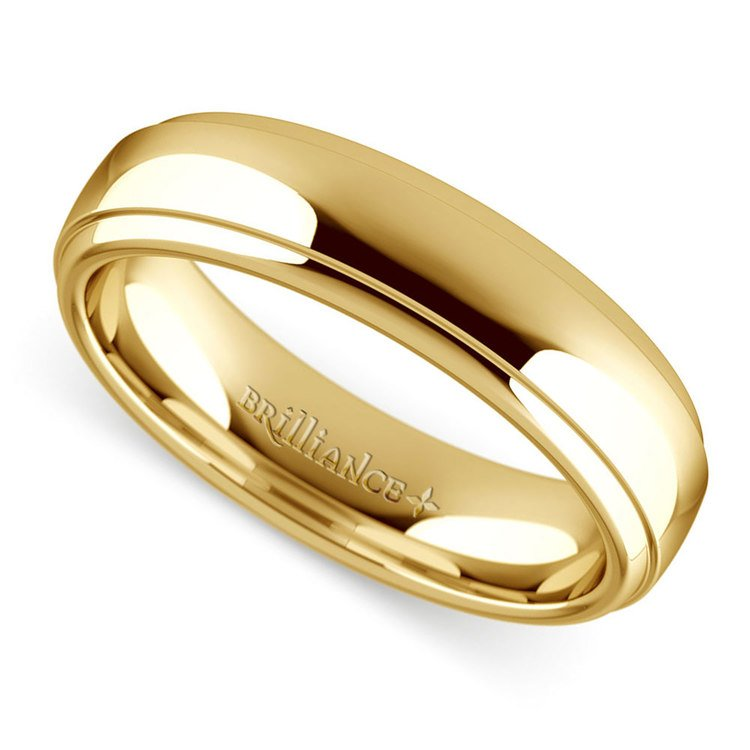 Domed Step Edge Men's Wedding Ring (5 mm) in Yellow Gold | 01