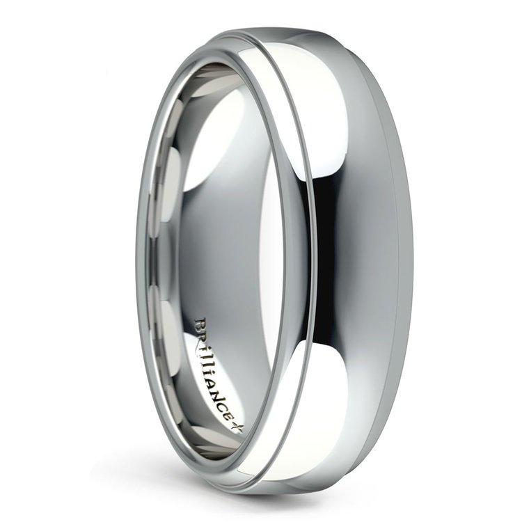 Domed Step Edge Men's Wedding Ring (6 mm) in Platinum | 02