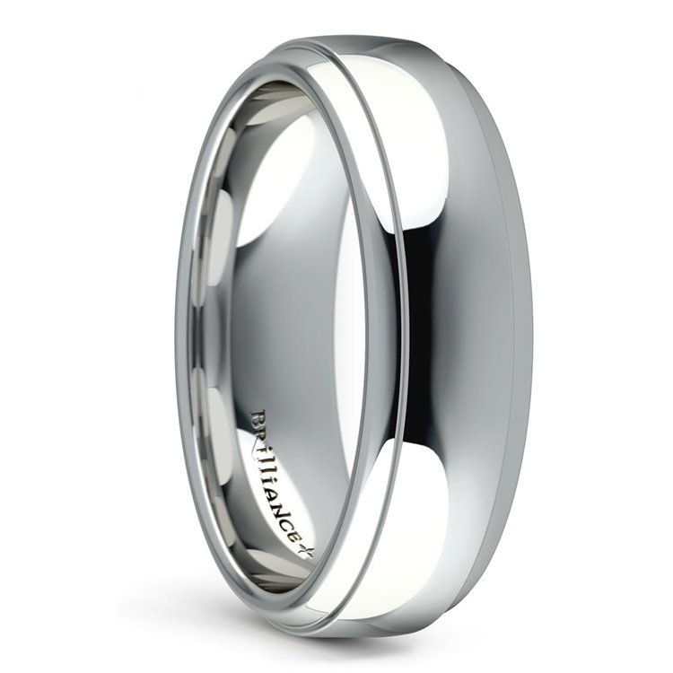 Domed Step Edge Men's Wedding Ring (6 mm) in White Gold | 02