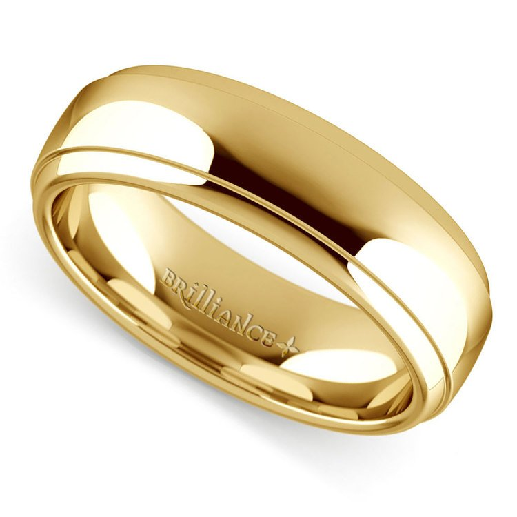 Domed Step Edge Men's Wedding Ring (6 mm) in Yellow Gold | 01