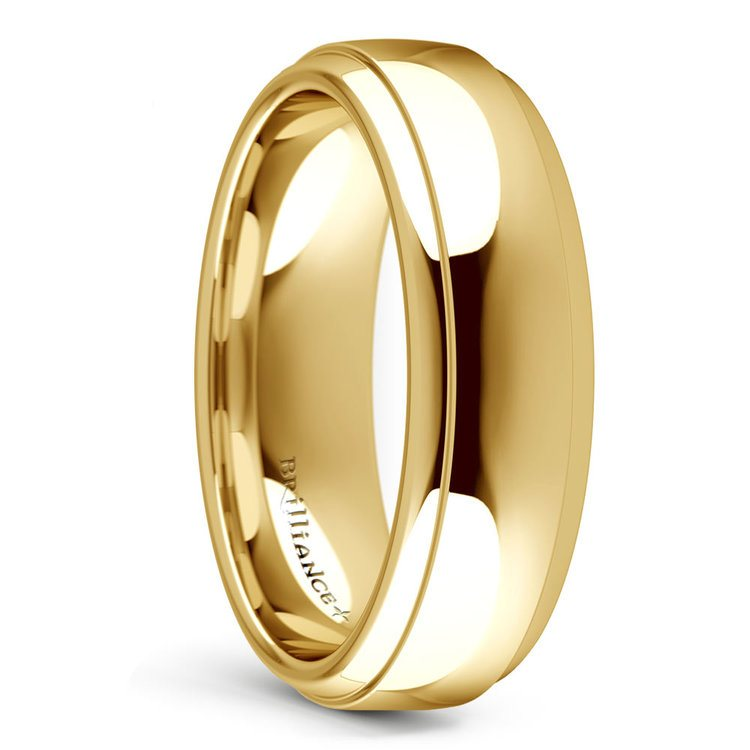 Domed Step Edge Men's Wedding Ring (6 mm) in Yellow Gold | 02