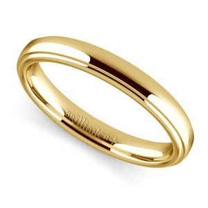 Domed Step Edge Wedding Ring (3 mm) in Yellow Gold