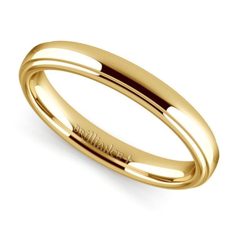 Domed Step Edge Wedding Ring (3 mm) in Yellow Gold | 01