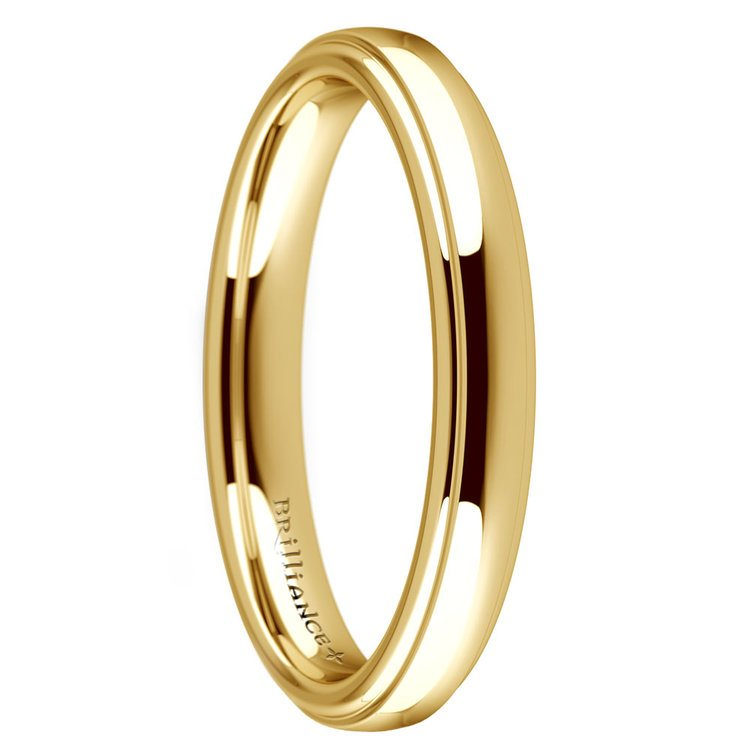 Domed Step Edge Wedding Ring (3 mm) in Yellow Gold | 02