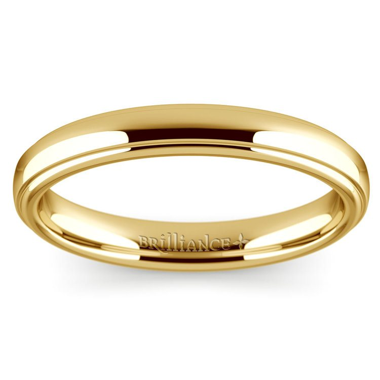 Domed Step Edge Wedding Ring (3 mm) in Yellow Gold | 03