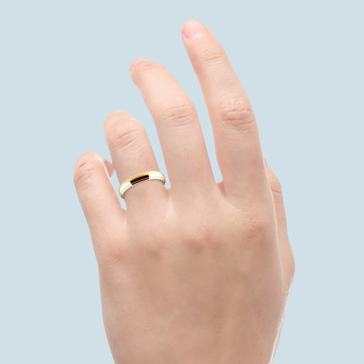 Domed Step Edge Wedding Ring (3 mm) in Yellow Gold | 04