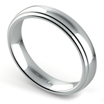 Domed Step Edge Wedding Ring (4 mm) in White Gold | Thumbnail 01