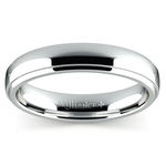 Domed Step Edge Wedding Ring (4 mm) in White Gold | Thumbnail 02