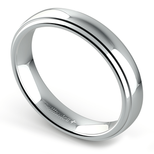 Domed Step Edge Wedding Ring (4 mm) in White Gold