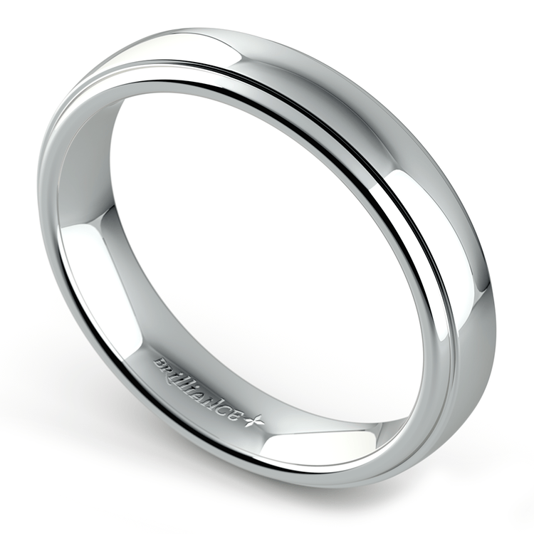 Domed Step Edge Wedding Ring (4 mm) in White Gold | 01
