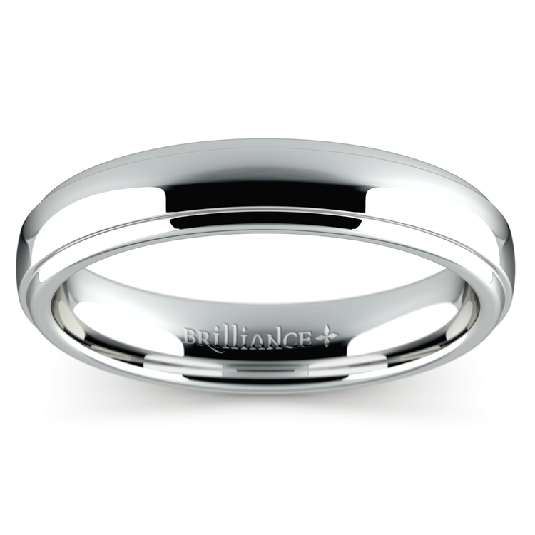 Domed Step Edge Wedding Ring (4 mm) in White Gold | 02