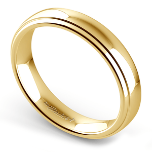 Domed Step Edge Wedding Ring (4 mm) in Yellow Gold