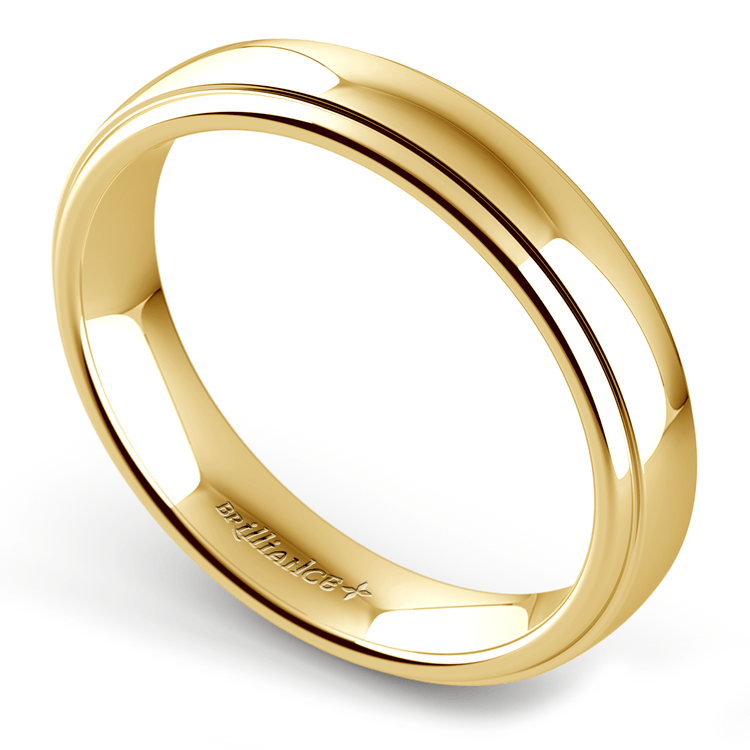 Domed Step Edge Wedding Ring (4 mm) in Yellow Gold | 01