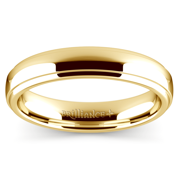 Domed Step Edge Wedding Ring (4 mm) in Yellow Gold | 02