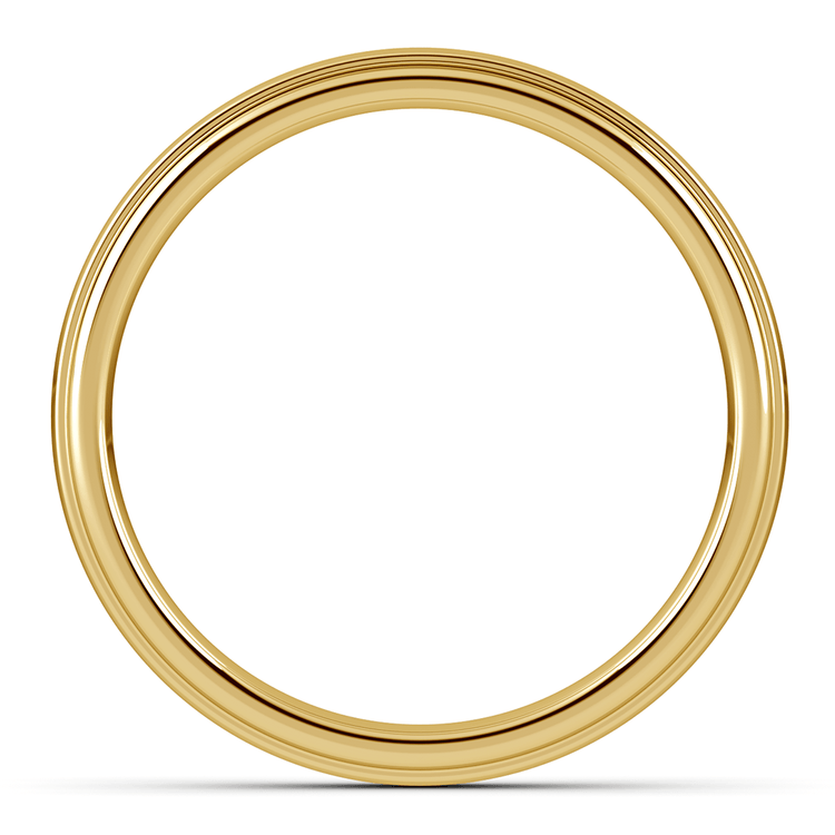 Domed Step Edge Wedding Ring (4 mm) in Yellow Gold | 03
