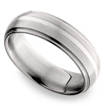 Domed Sterling Silver Inlay Men's Wedding Ring in Titanium | Thumbnail 01