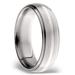 Domed Sterling Silver Inlay Men's Wedding Ring in Titanium | Thumbnail 02