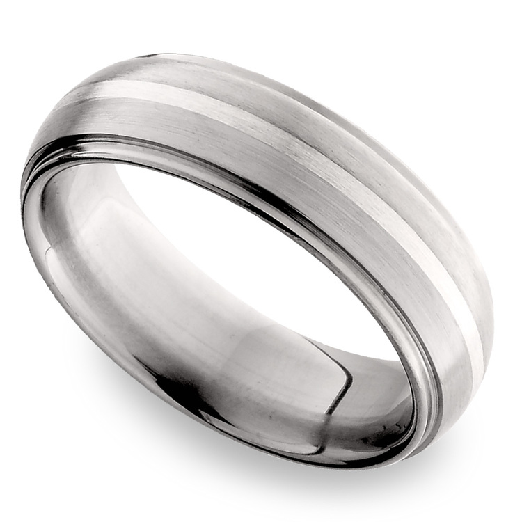 Domed Sterling Silver Inlay Men's Wedding Ring in Titanium | 01