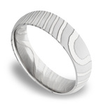 Domed Tiger Men's Wedding Band in Damascus Steel | Thumbnail 01