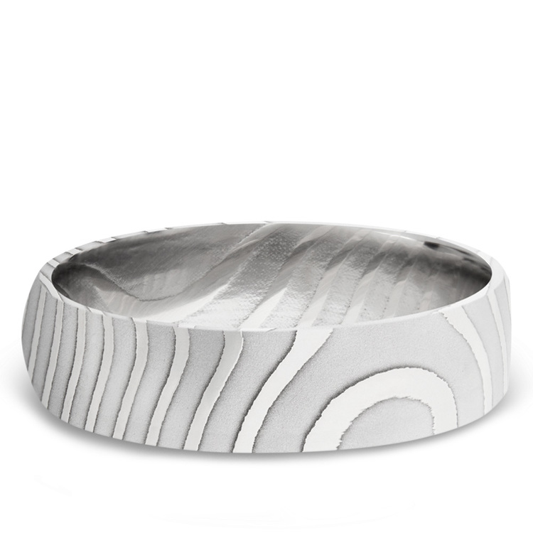 Domed Tiger Men's Wedding Band in Damascus Steel | 03