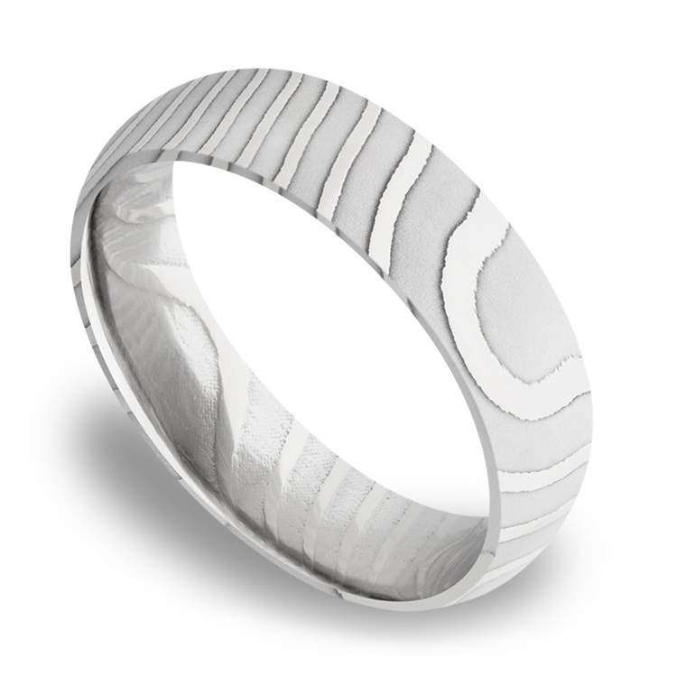 Domed Tiger Men's Wedding Band in Damascus Steel | 01