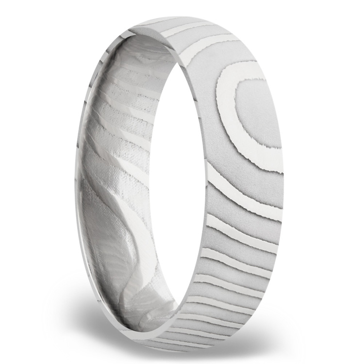 Domed Tiger Men's Wedding Band in Damascus Steel | 02
